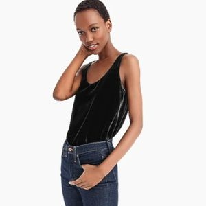J. Crew Black Velvet Scoop Neck Sleeveless Top